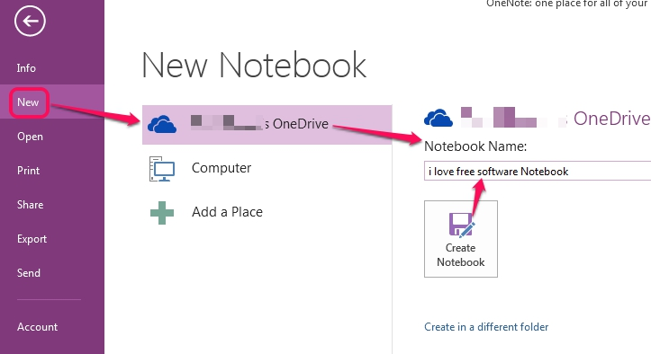 create your OneDrive Notebook