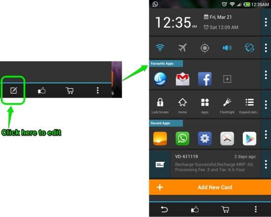 edit cards in sidebar launcher for android