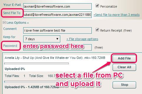 enter file sending details and upload a file