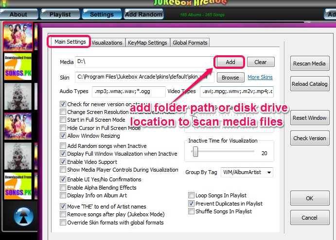 enter source location to scan media files