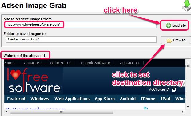 enter website address and set destination location