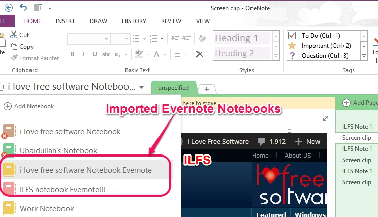 imported Evernote Notebooks in OneNote