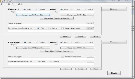 pFencryptor user interface