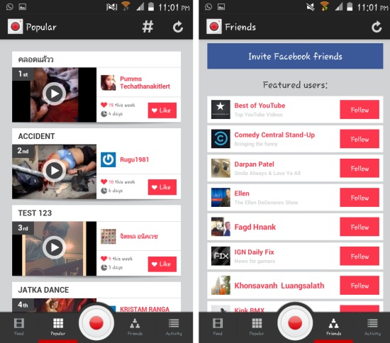 popular and friends in socialcam for android