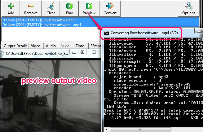 preview output video
