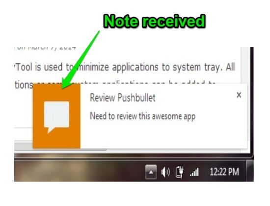pushed note using pushbullet for android on desktop