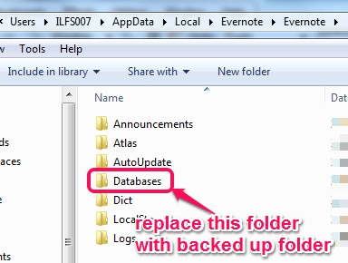 replace Databases folder