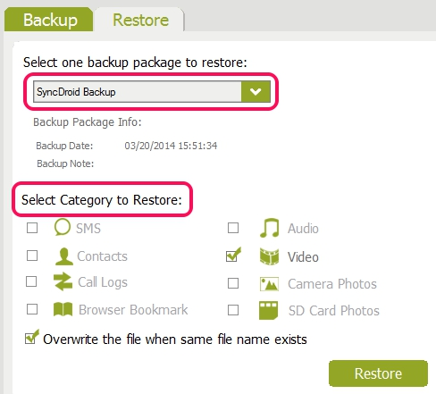 restore backup items