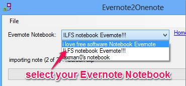 select Evernote Notebook to import