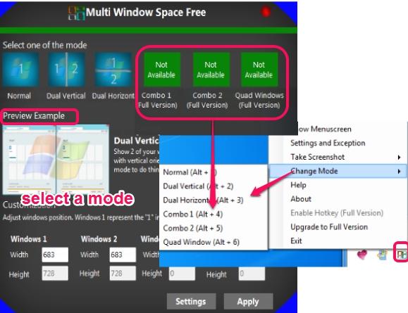 select a view mode