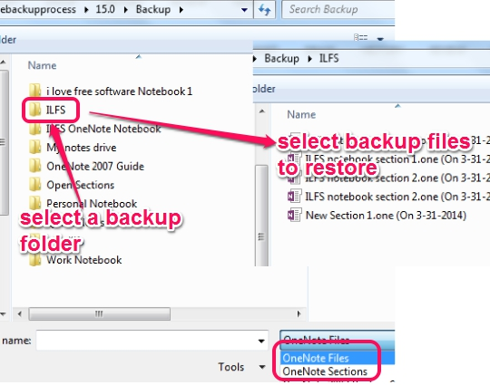 select backup files to restore