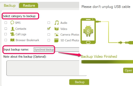 select categories to backup