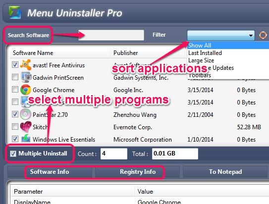 select programs to uninstall