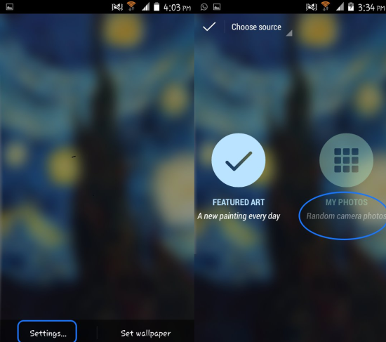 set custom images as wallaper in Muzei Live Wallpaper for android