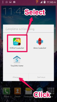 set kitkat laucher for android as default