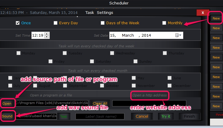 set task reminder settings