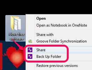 share and backup a file with context menu