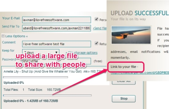 share large files by email