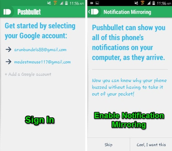 sign into pushbullet for android app