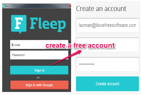 sign up to Fleep