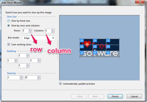 slicer row column