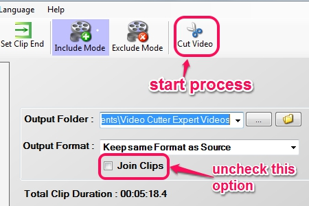 start processing video clips