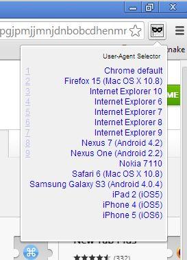 user agent switcher google chrome 5