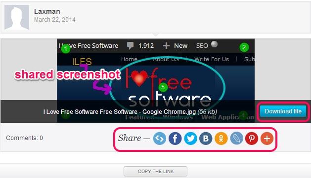 view shared screenshot