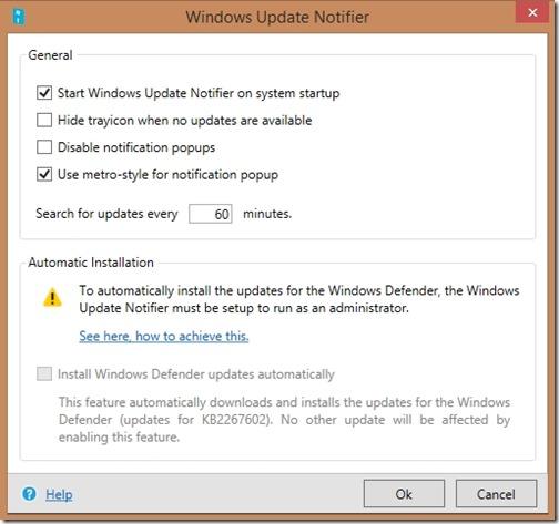 windows update notifier setting