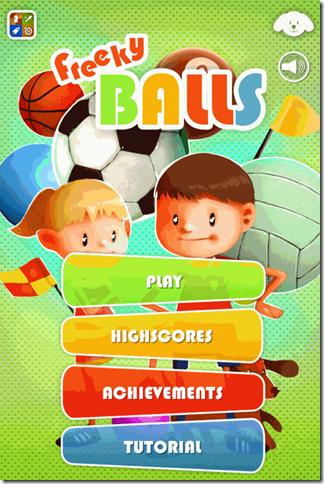 Freeky Balls Home Screen