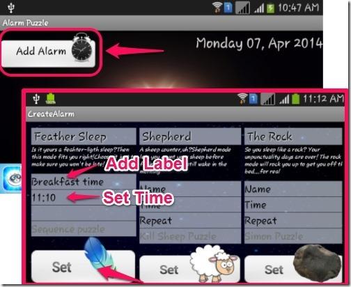 Alarm Puzzle-add alarm, set time