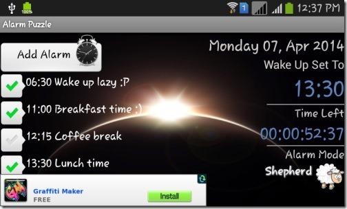 Alarm Puzzle- main interface