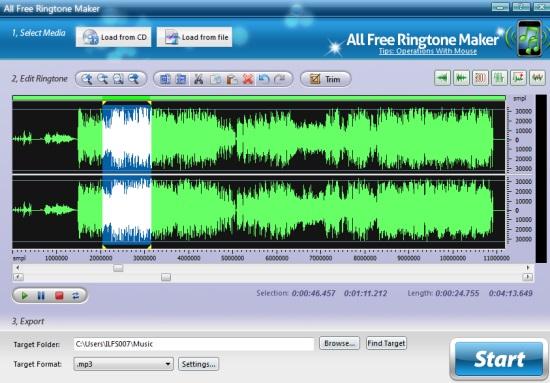 All Free Ringtone Maker- interface