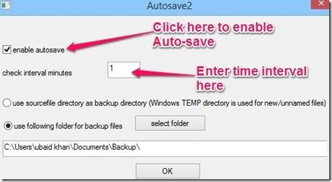 Autosave2 setting option