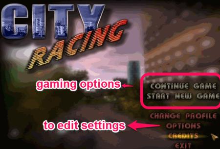 City Racer start game