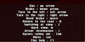 City Racing Game options