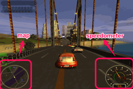 City Racing Map and speedometer