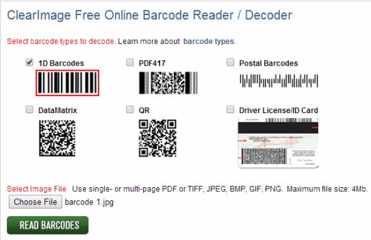 Online Barcode Reader To Decode DataMatrix, QR, Postal Barcodes