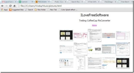 CoffeeCup PixConverter HTML Thumbnail