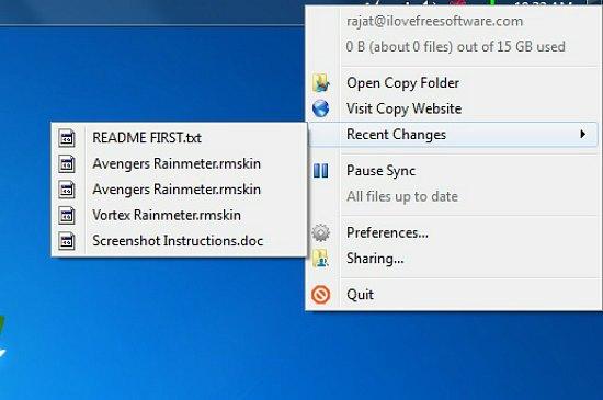 Copy Systray menu options