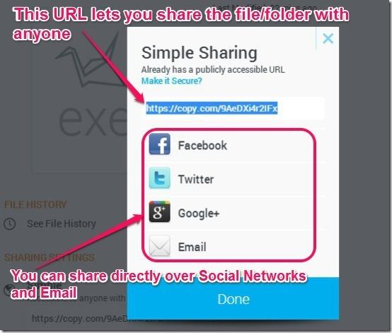 Copy sharing menu