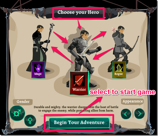 Dragon Age Legends Choose warrior option