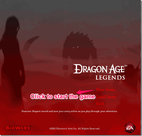 Dragon age legends first window