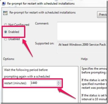 Enable and assign the re-prompt duration