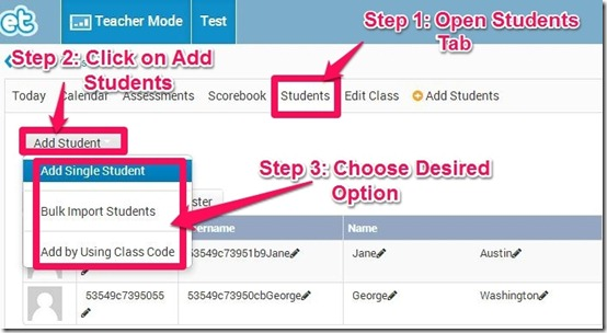 ExitTicket Add students