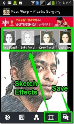 Face Warp- sketch effect & save