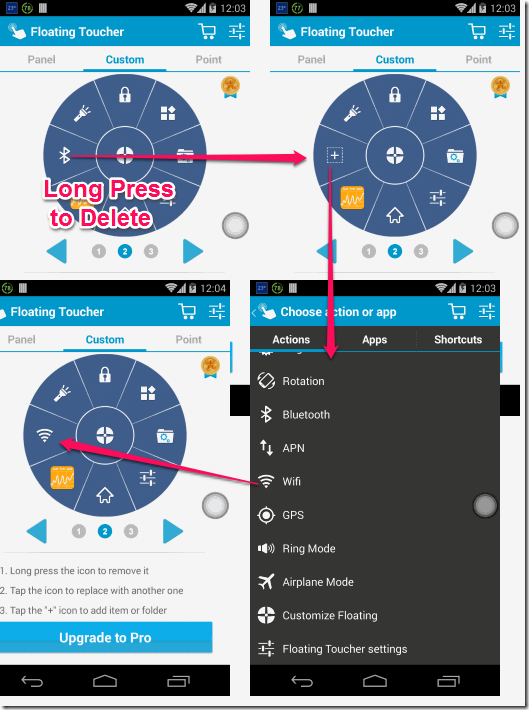 Floating Toucher Add Actions