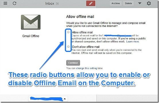 Gmail offline confirmation screen to allow offline mail