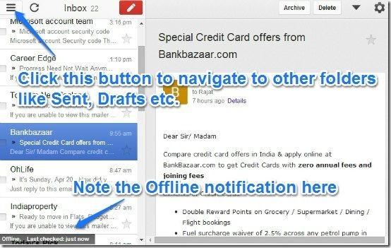Gmail offline main UI 2