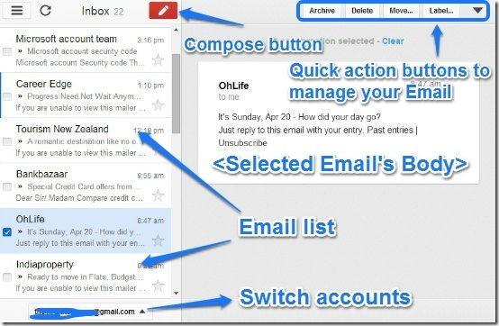 Gmail offline main UI